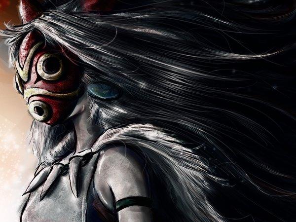 Oboi Mononoke Hime Studiomuku Art Devushka Maska Meh Princessa