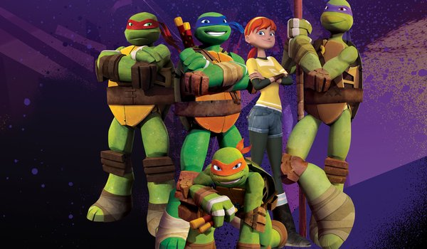 Обои на рабочий стол: 3d, 3D Cartoon, Animation, April, April O'Neil, cartoon, CGI, Characters, donatello, green, Group Pose, leonardo, michelangelo, Nickelodeon, Nicktoon, Ninja Turtles, raphael, teenage mutant ninja turtles, tmnt, TMNT 2012, TV Series, weapons