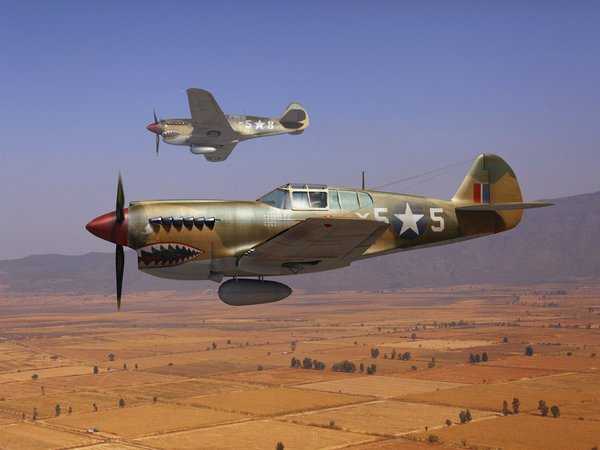 (, ), Curtiss P-40, Kittyhawk, Tomahawk, ww2, американские, арт, ВВС Великобритании, истребители, Кёртисс P-40, небо