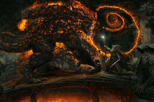 Обои на рабочий стол: balrog, battle, bridge of khazad-dum, fantasy art, gandalf, kerem beyit, mines of moria, shadow, the lord of the rings, балрог, бой, властелин колец, волшебник, горгульи, гэндальф, жезл, казад-дум, копи, меч, мория, мост, огонь, статуи, фэнтези