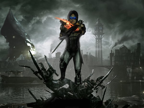 Dishonored, Dunwall City, fan art, kai leng, mass effect 3, Reaper, Кай Ленг