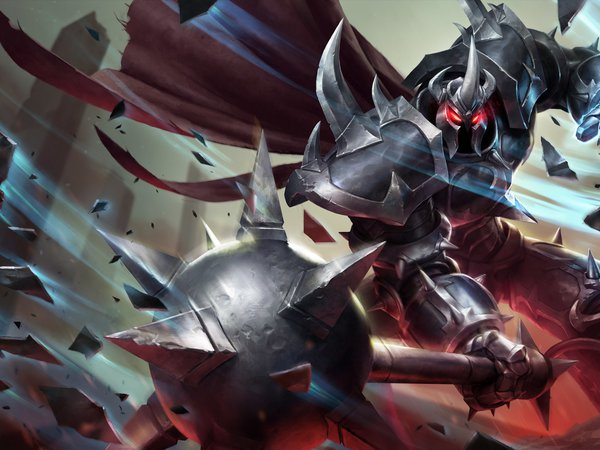league of legends, LoL, Mordekaiser, булава, воин, доспехи, удар, шипы