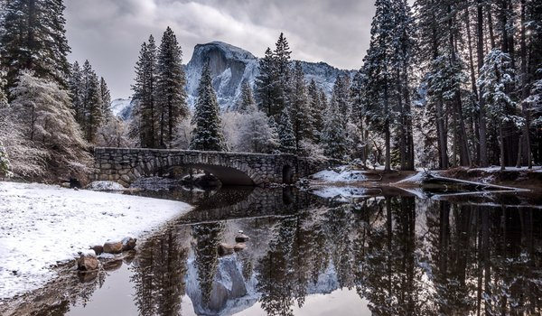 Обои на рабочий стол: bridge, landscape, nature, river, snow, trees, winter