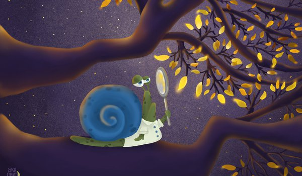 Обои на рабочий стол: 4k ultra hd background, animals, art, branches, digital art, funny, illustration, leaves, magnifier, magnifying glass, painting, snail, yellow