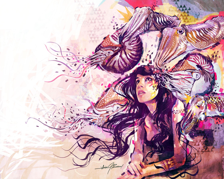 графика абстракция девушка цветы graphics abstraction girl flowers  № 2062379 загрузить