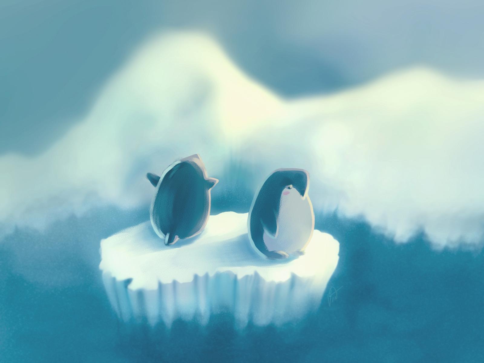 пингвины на глыбе льда  № 91248 без смс