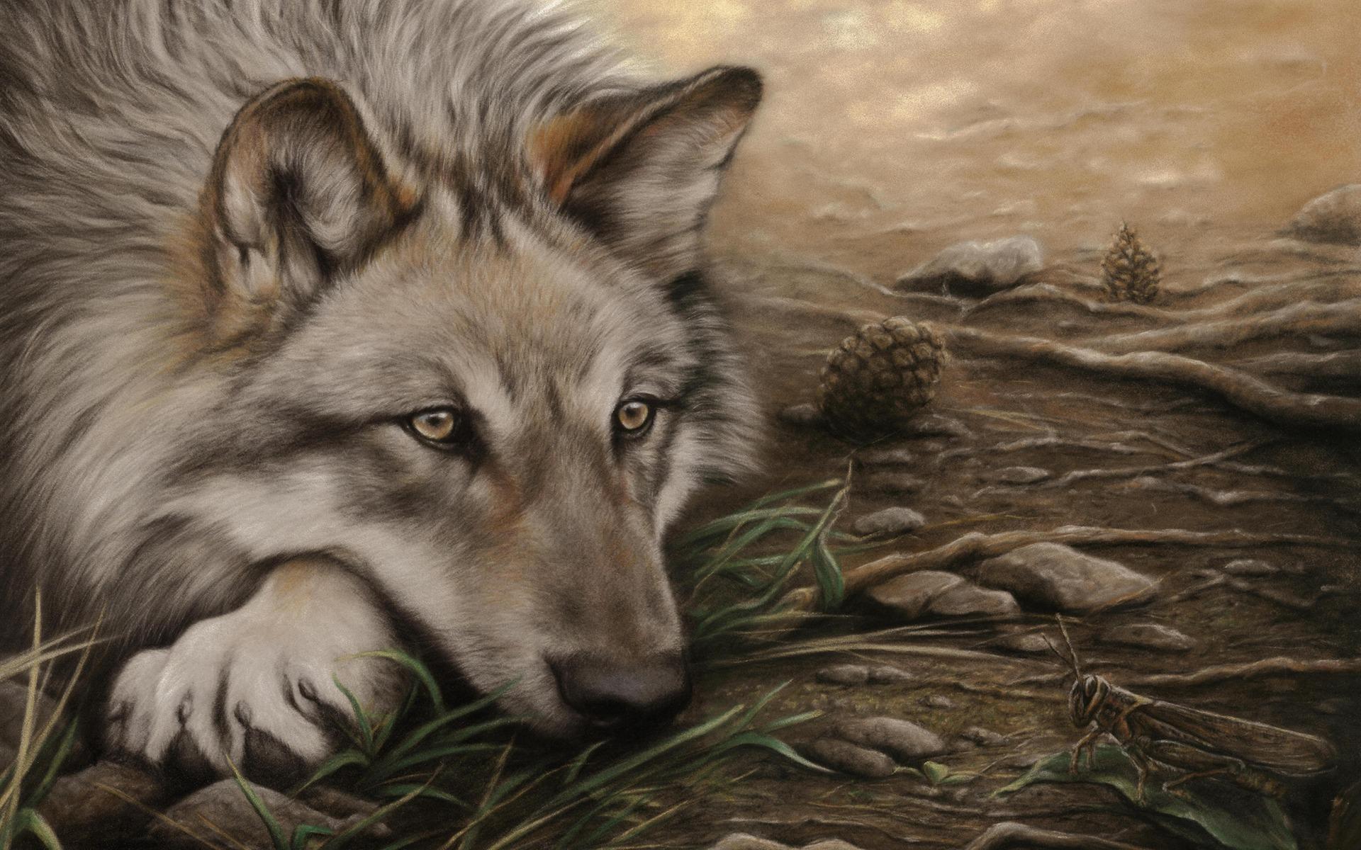 обои на рабочий стол волки нарисованная № 649050 загрузить
