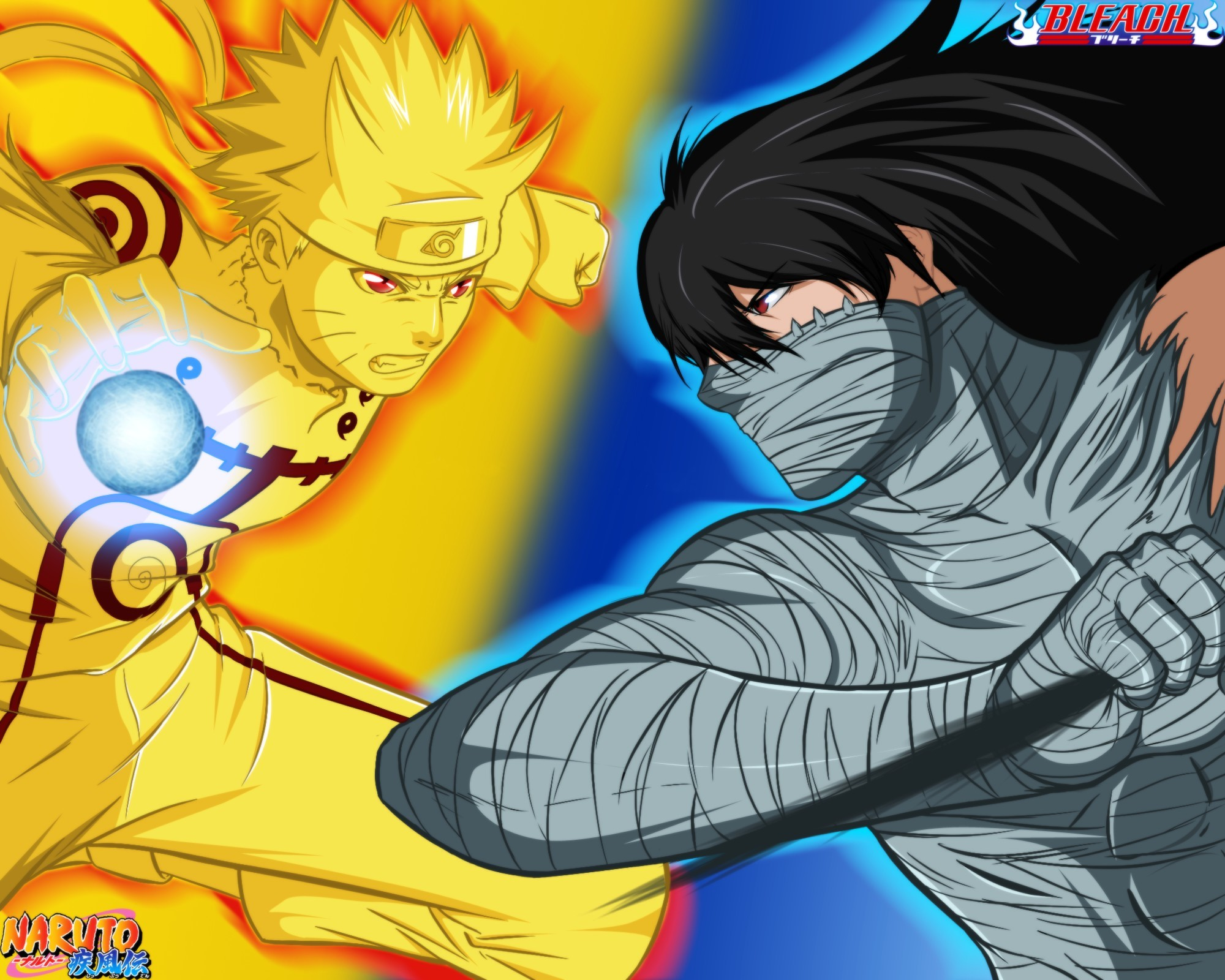 anime, bandage, black hair, bleach, blonde, boy, crossover, fight, final evolution, game, hitayate, ichigo, jutsu, katana, kurosaki, kyuubi mode, logo konohagakure no sato, long hair, man, manga, mu, mugetsu, naruto, naruto shippuden, naruto vs ichigo, power, rasengan, red eyes, shihakushou, shinigami, short hair, special power, stong, substitute, sword, tensa sangetsu, transformation, Uzumaki, vs