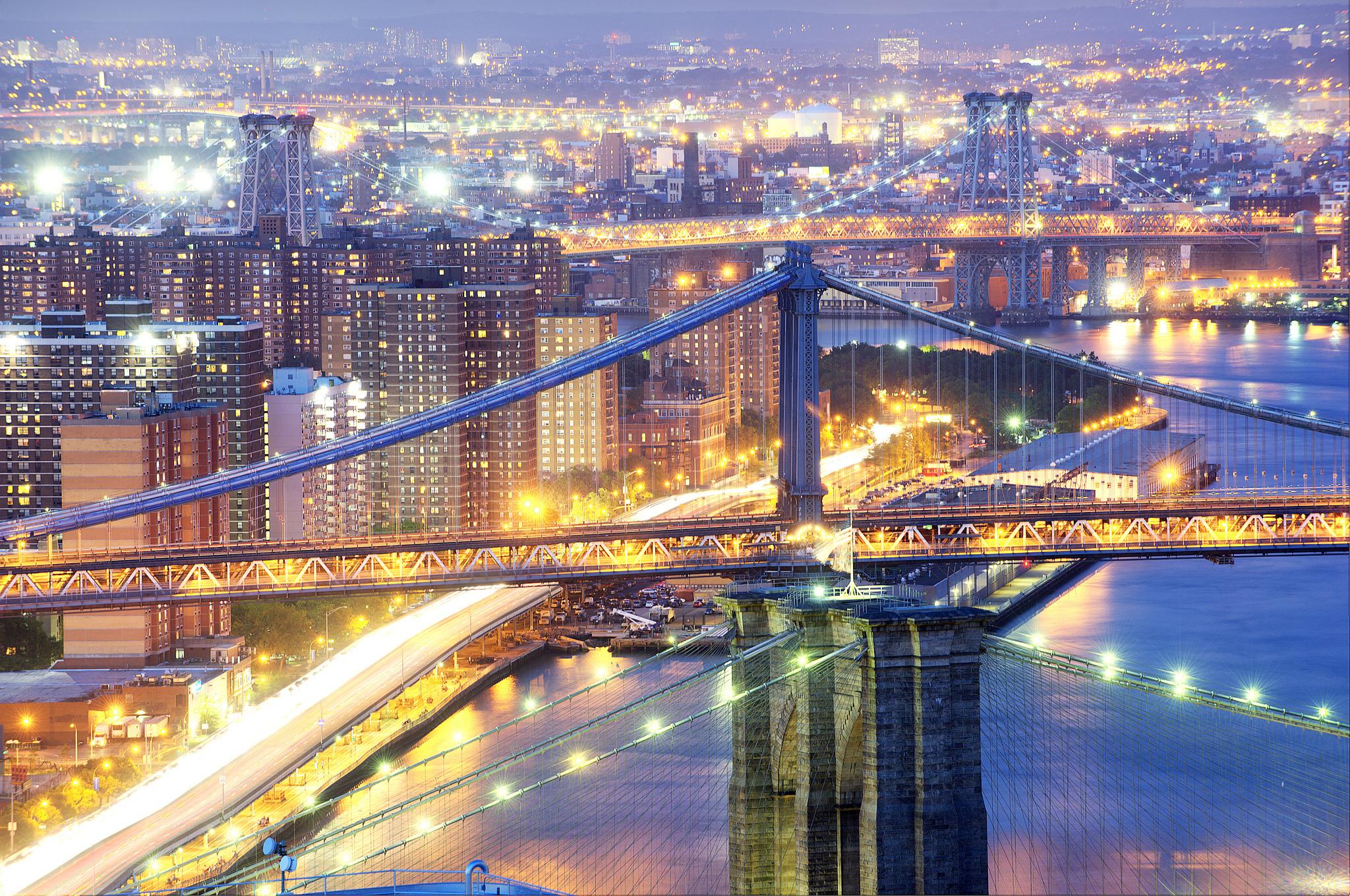 страны архитектура Бруклинский мост река ночь США Нью-Йорк бесплатно