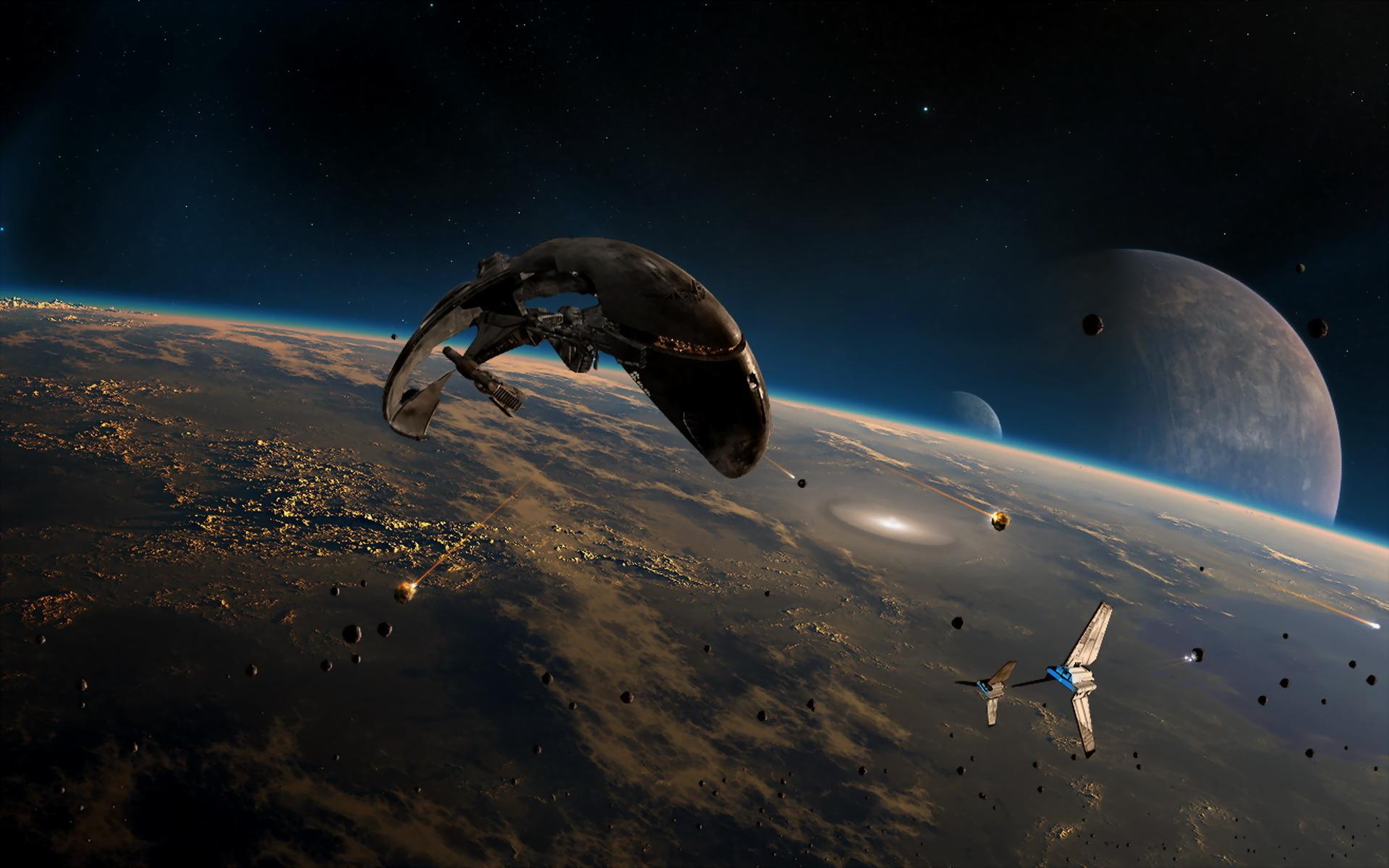 Обои Красная планета горизонт фантастика космос картинки на рабочий стол на тему Космос - скачать бесплатно