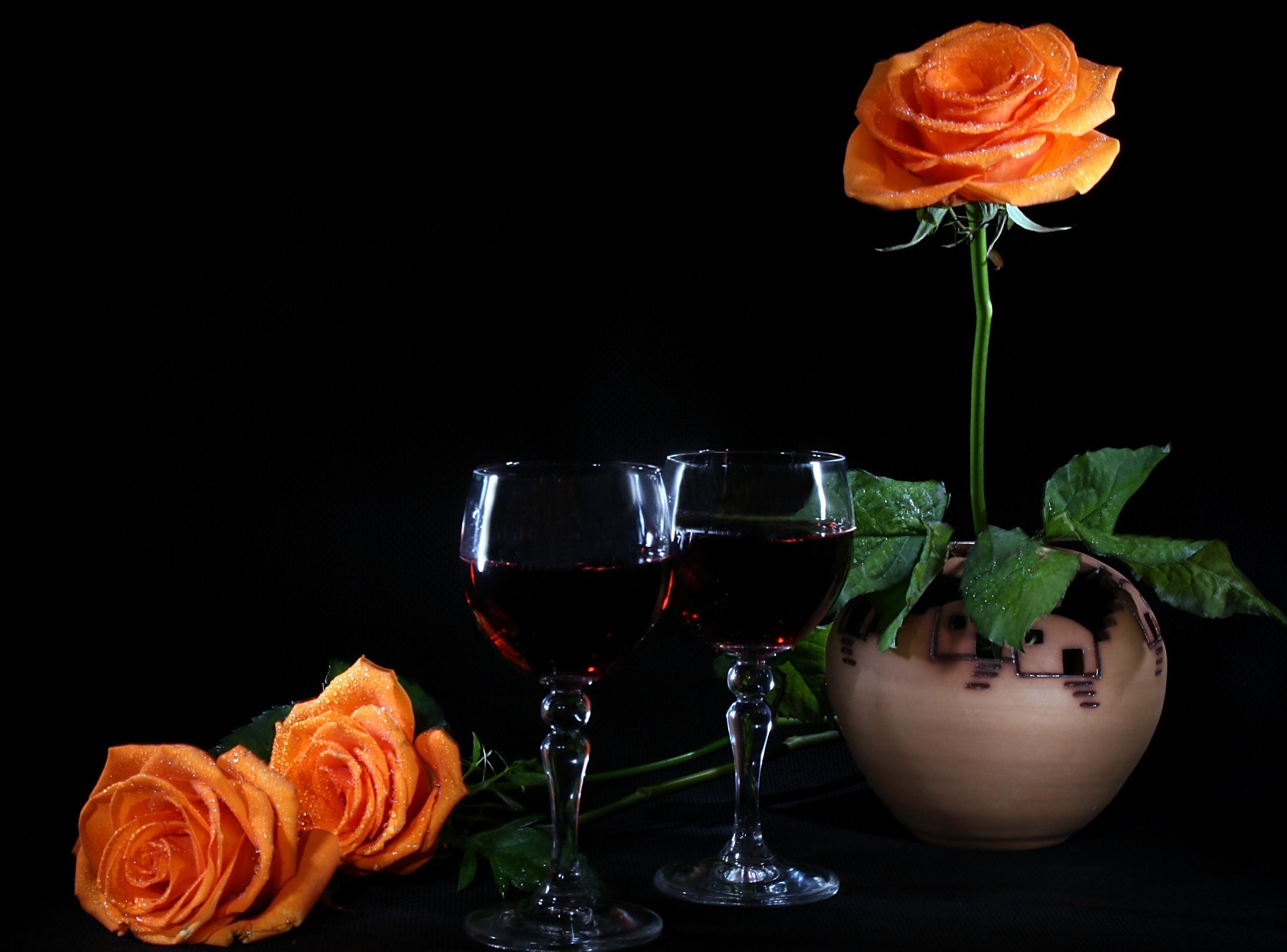 розы, желтые, сервировка, фужеры, свечи скачать