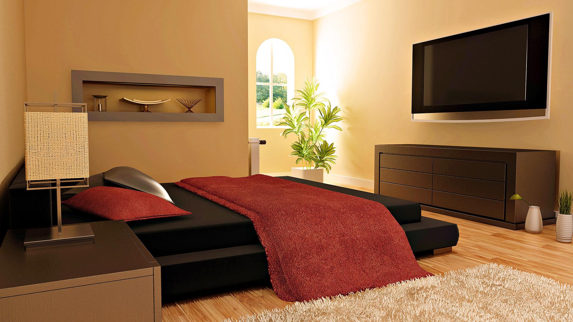 интерьер комната кровать онлайн