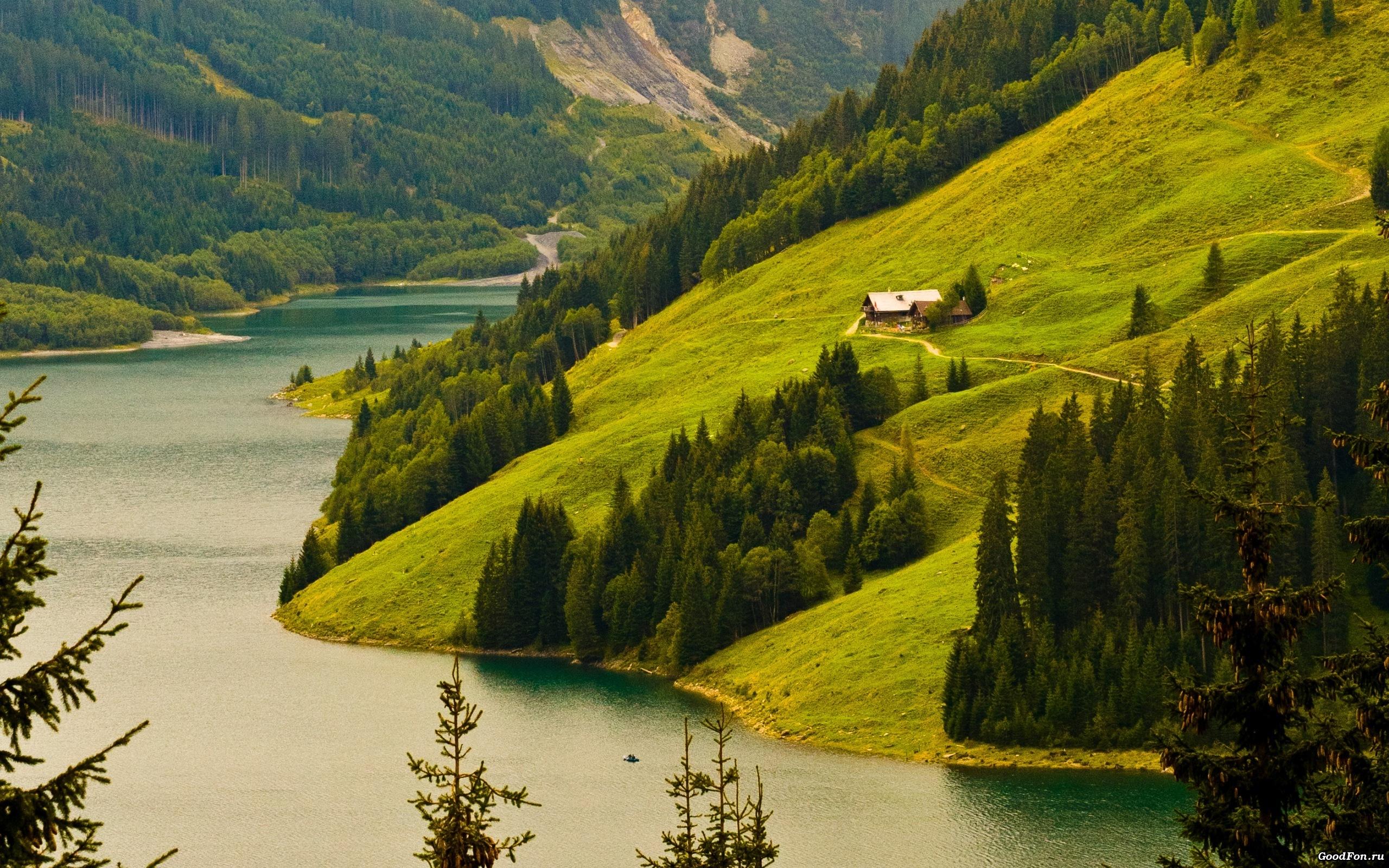 природа озеро дом лес деревья  № 2447937  скачать