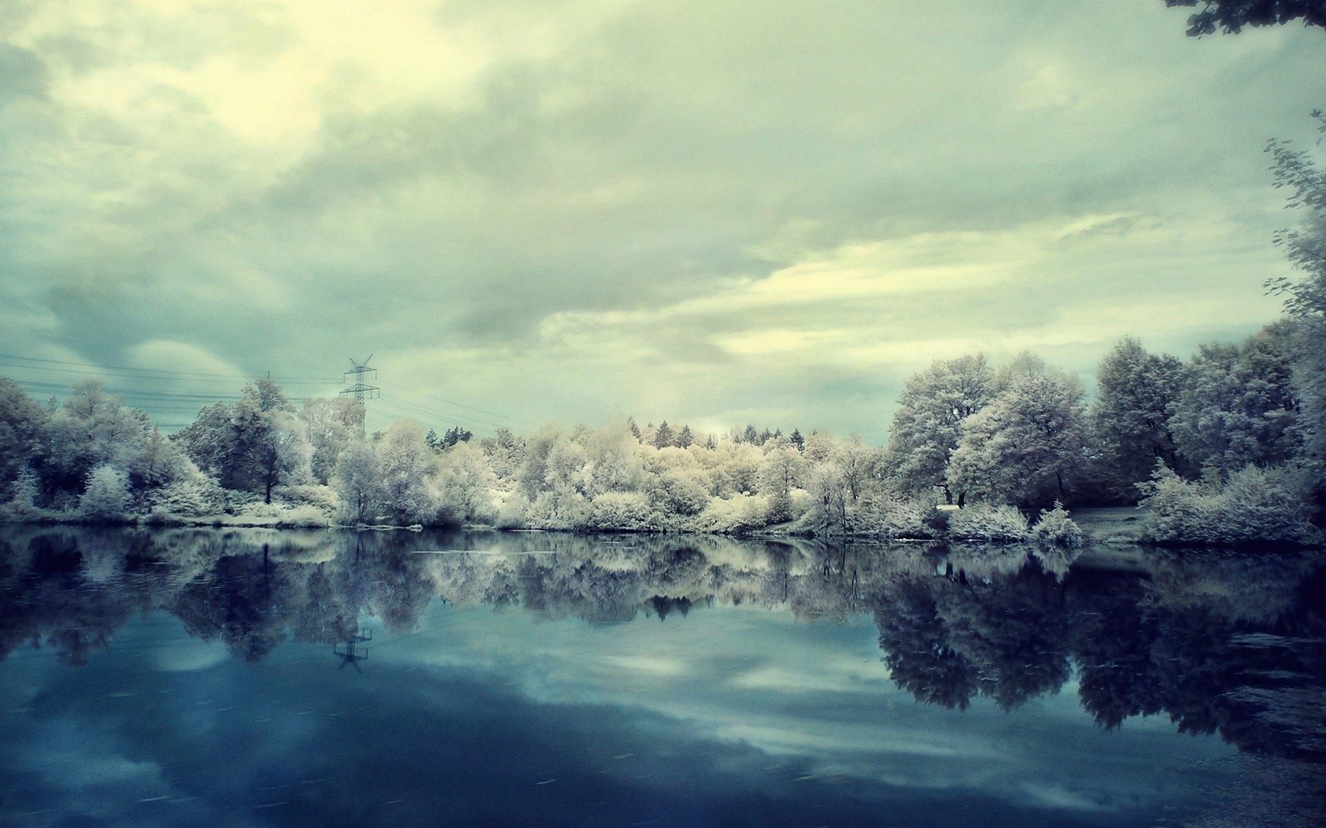 озеро зима иней the lake winter frost  № 580197  скачать