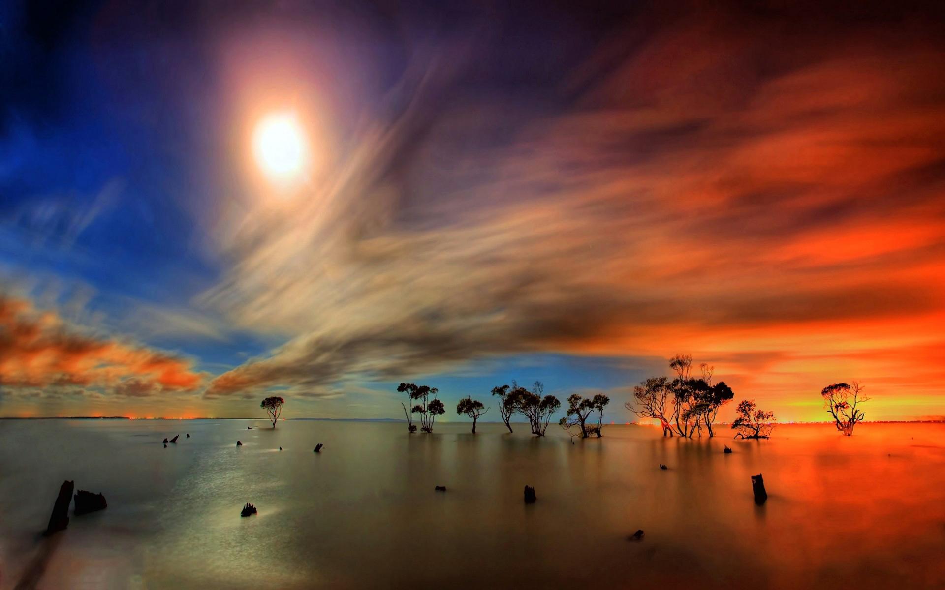 природа горизонт солнце озеро облака отражение  № 623438 загрузить