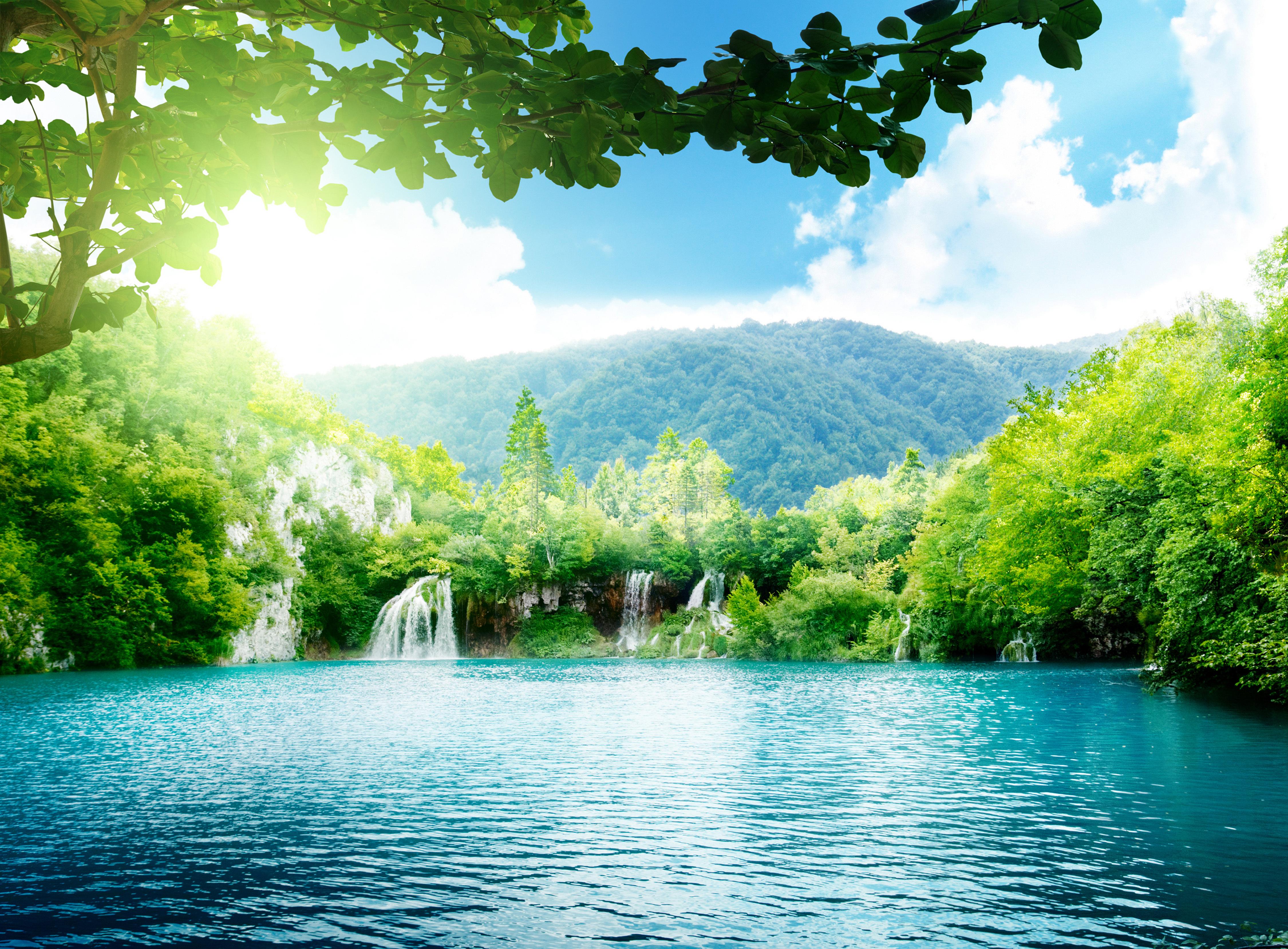 водопад деревья озеро  № 3898737  скачать