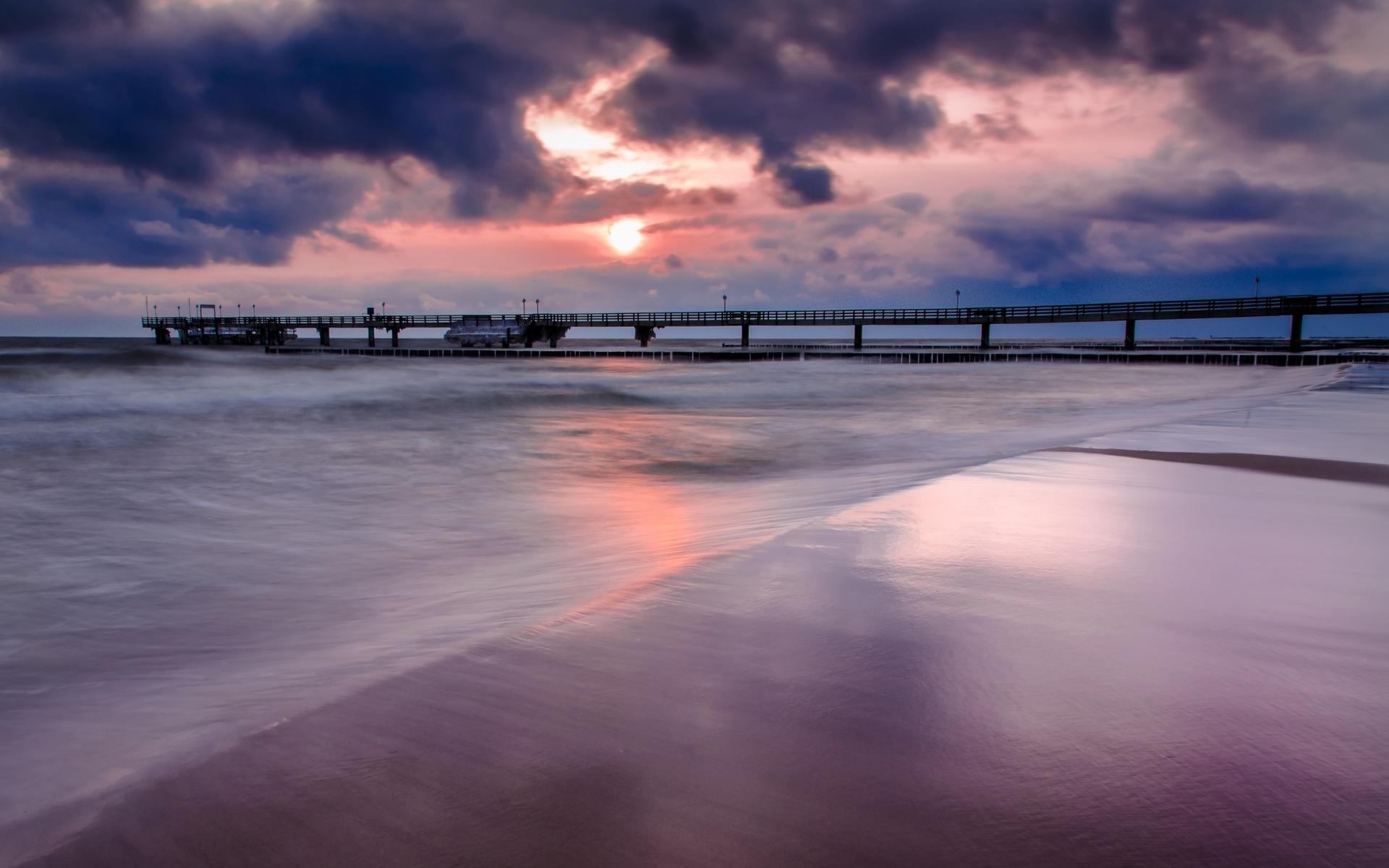 природа море облака мост nature sea clouds the bridge скачать