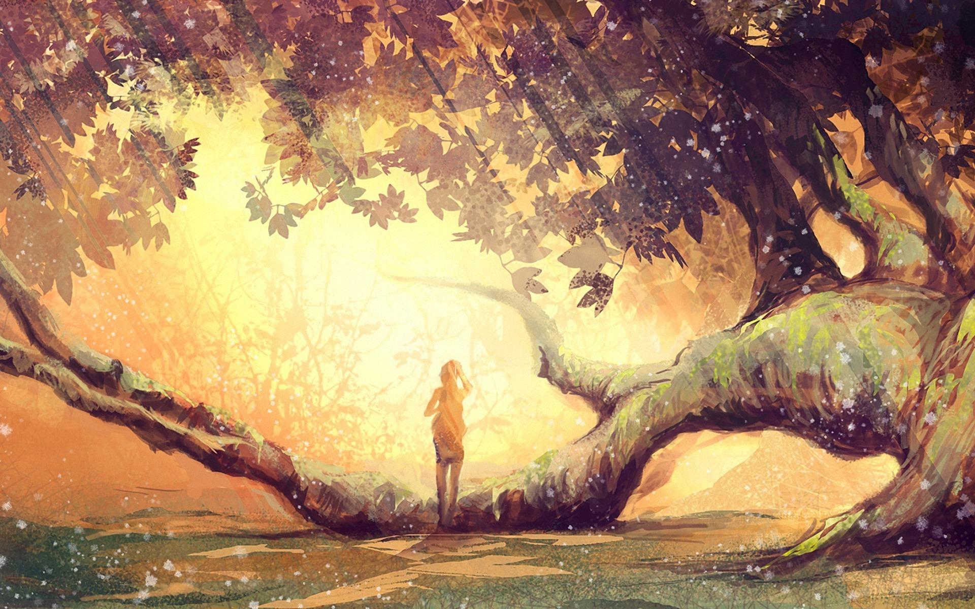Девушка дерево улыбка лес Girl tree smile forest загрузить
