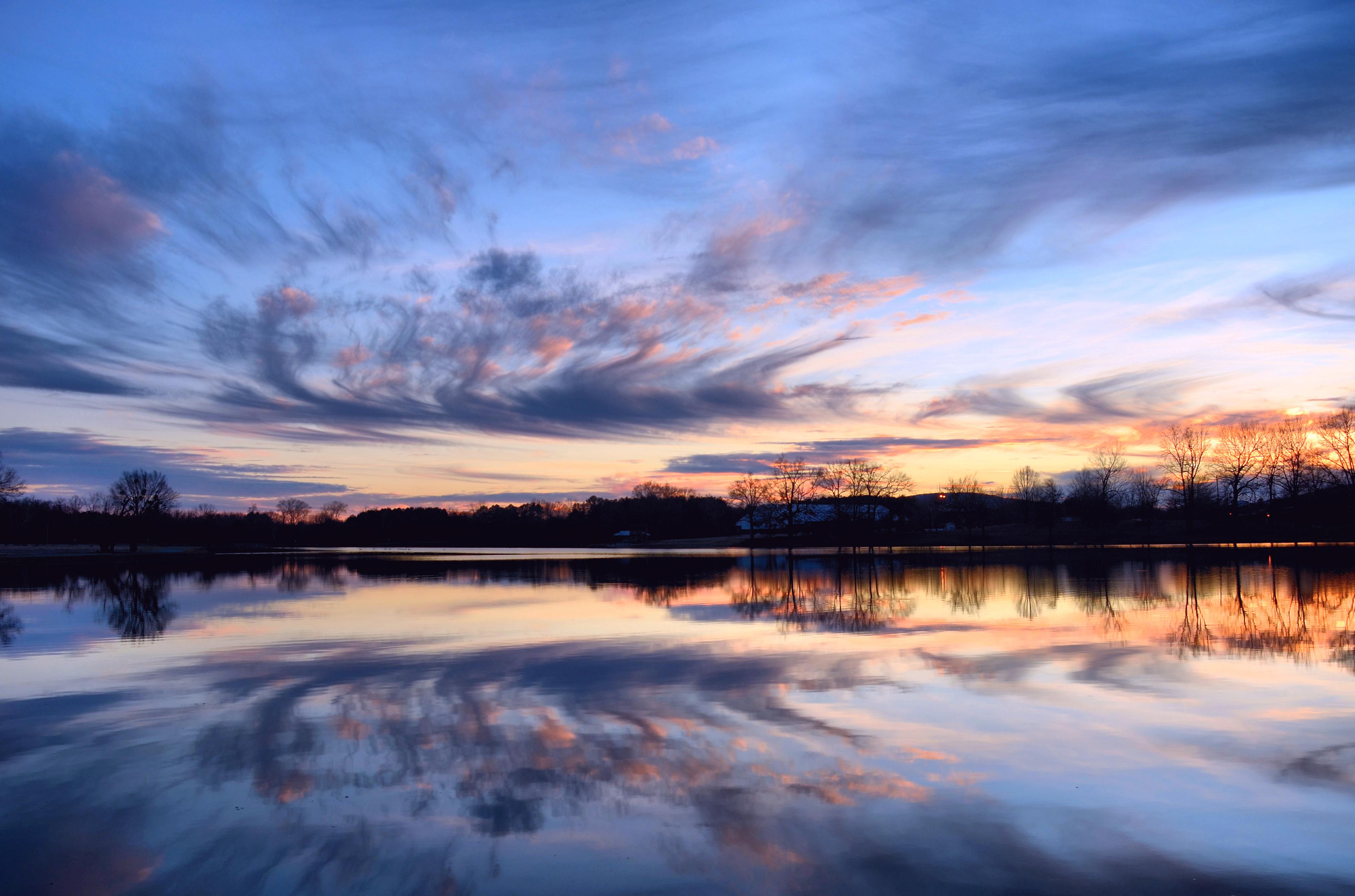природа озеро деревья небо облака закат  № 1249486 бесплатно