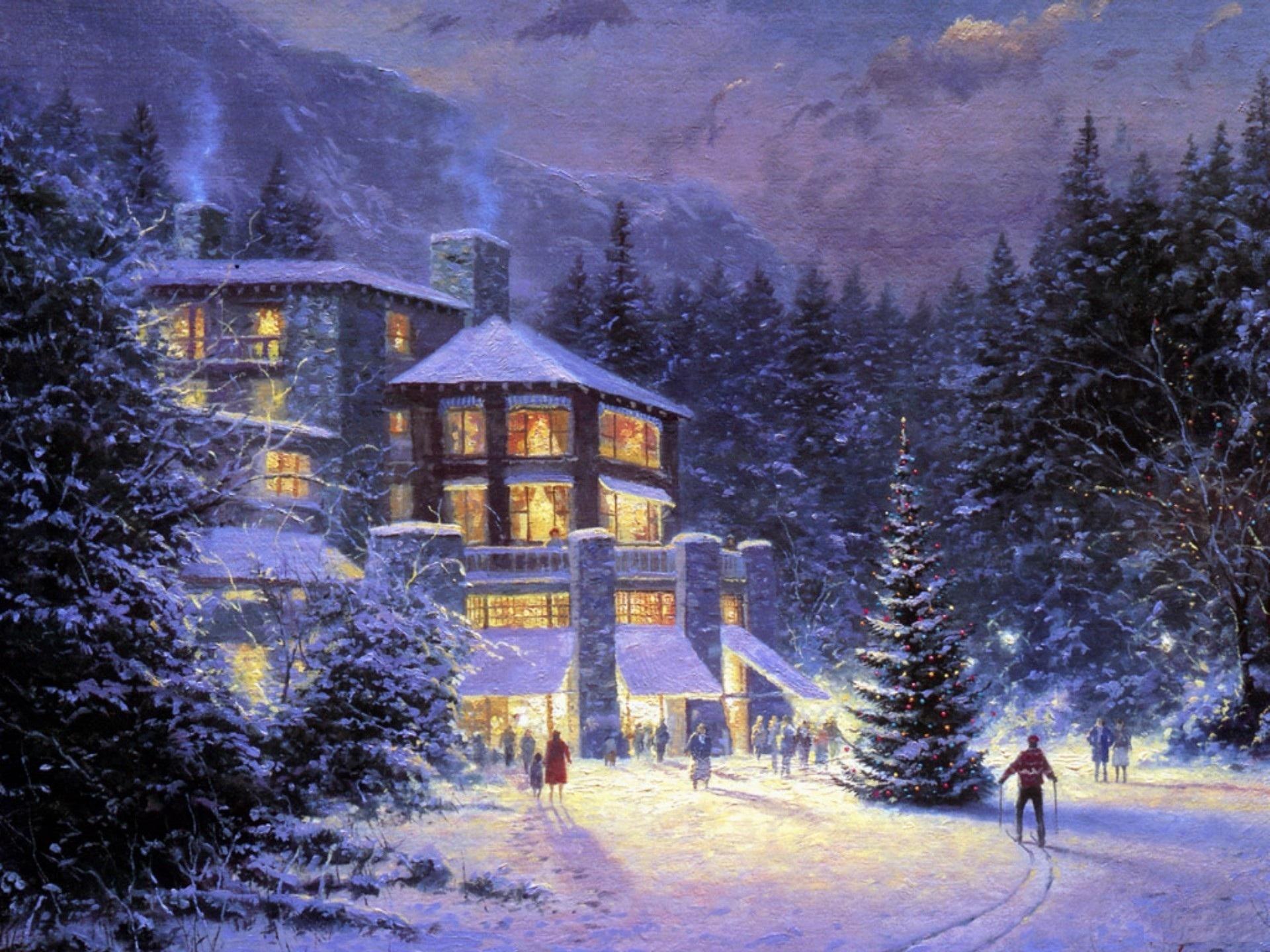 снег зима усадьба фазенда бесплатно