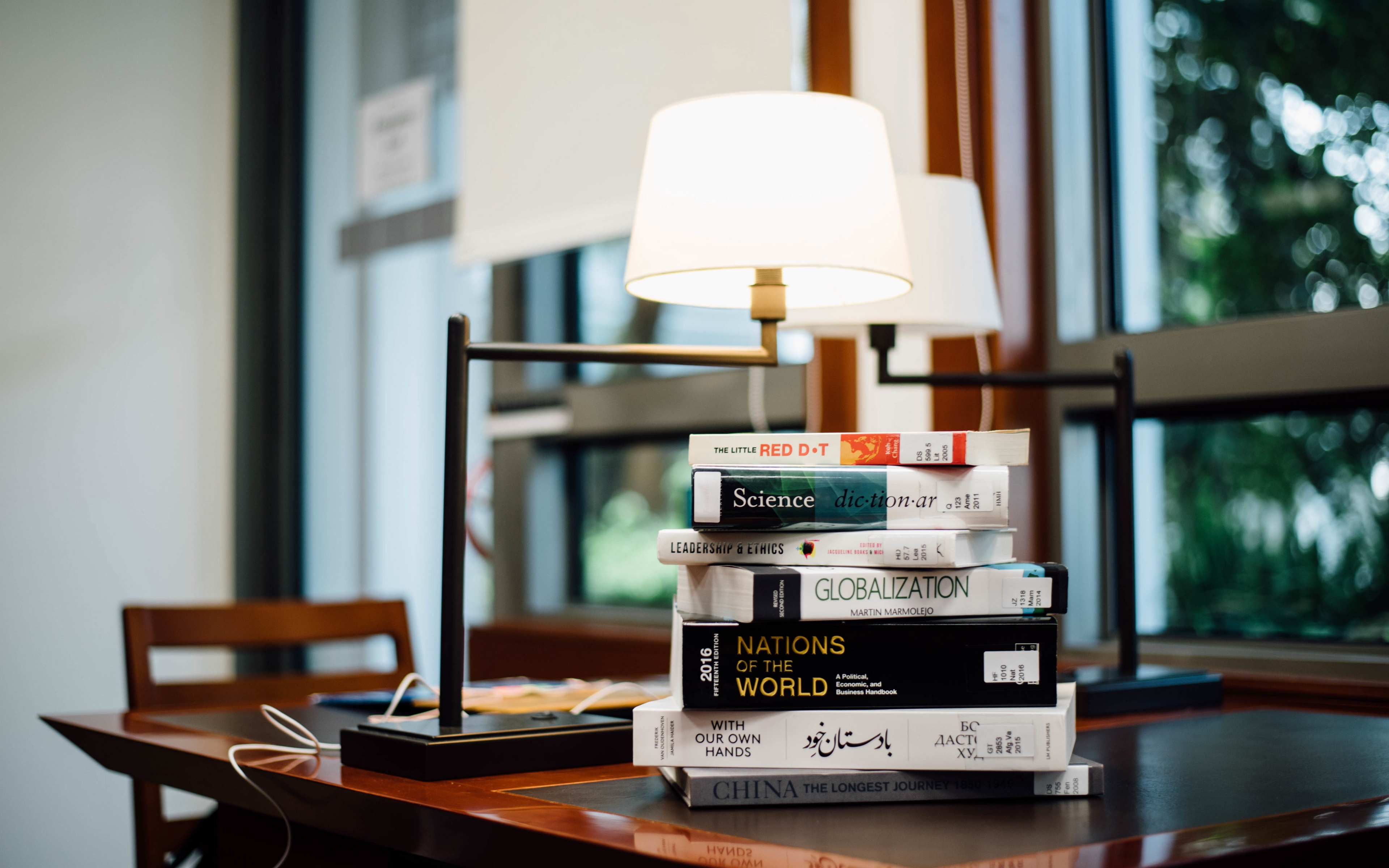 background, blur, bokeh, BOOKS, lamps, table