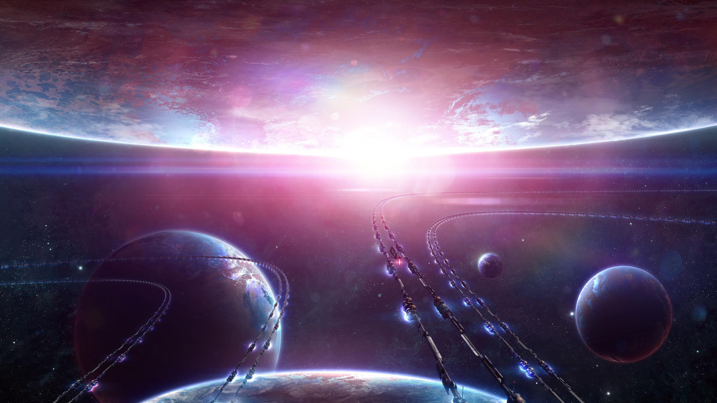 Обои Красная планета горизонт фантастика космос картинки на рабочий стол на тему Космос - скачать загрузить