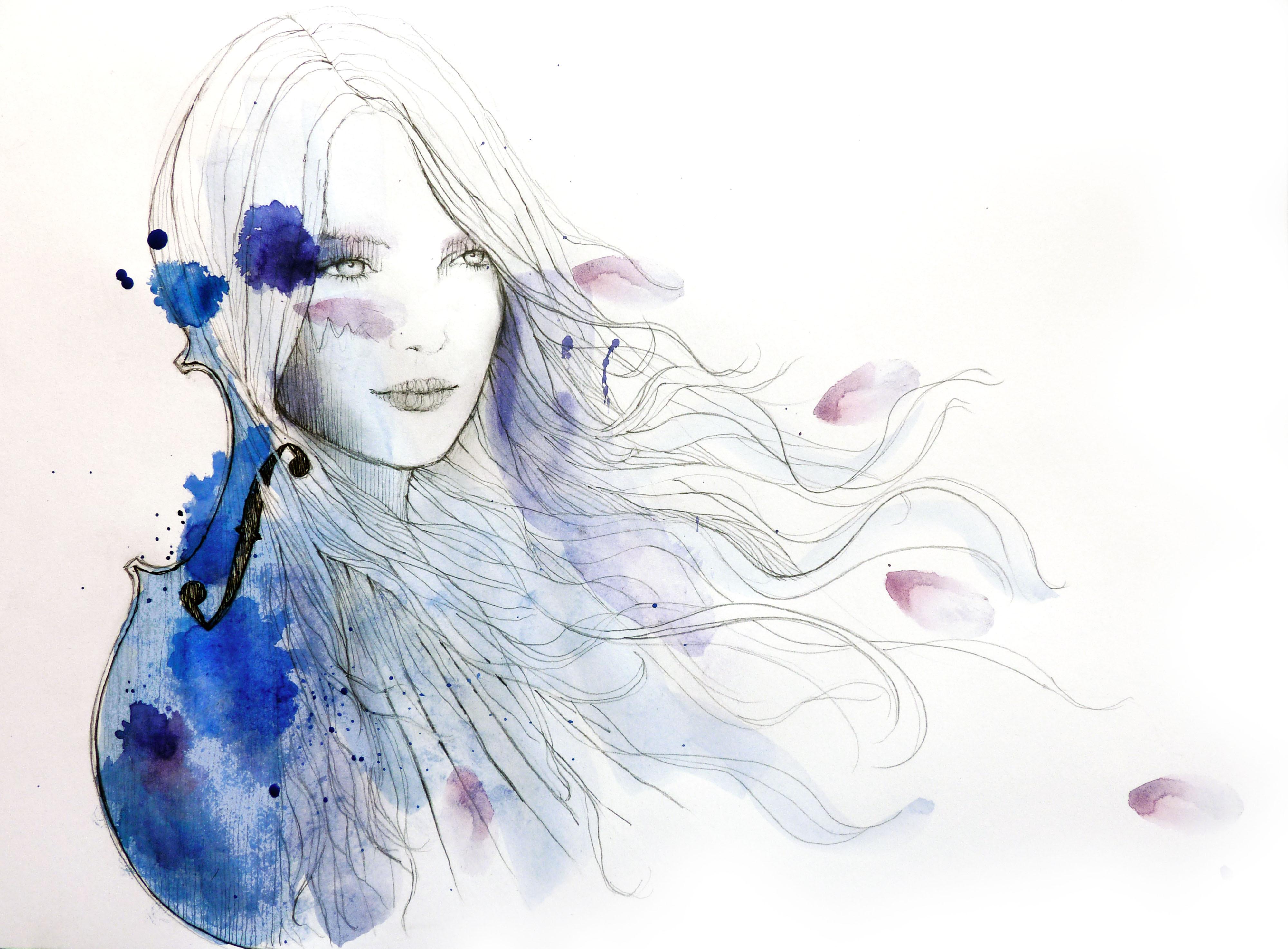 Девушка со скрипкой абстракция  № 2052268 без смс