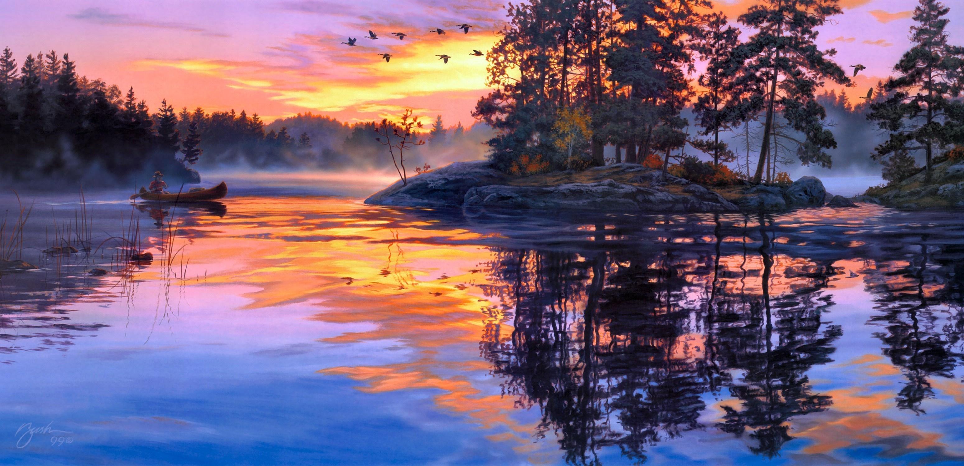 Озеро горное городок рассвет скачать